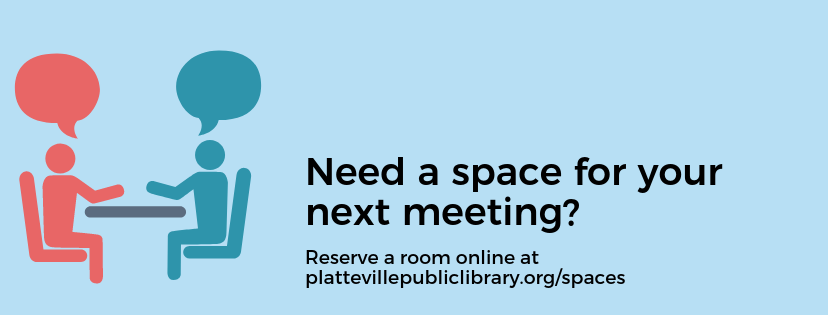 Illustration of two people talking with text 'Need a space for your next meeting? Reserve a room online'
